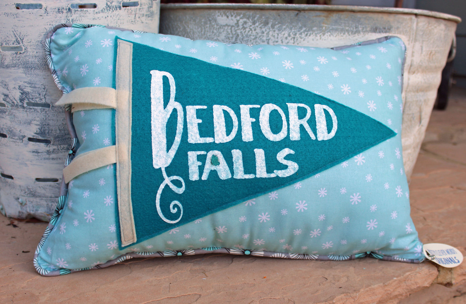 vintage style pennant pillow - Bedford Falls