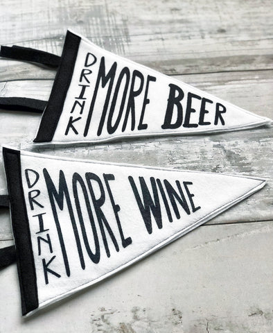 tacos, whiskey, wine and beer - pennant art small