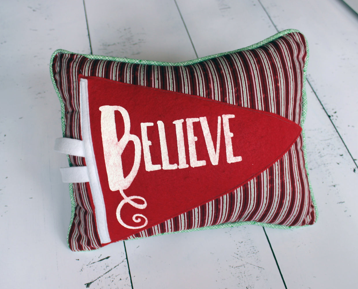 vintage style pennant pillow - Believe