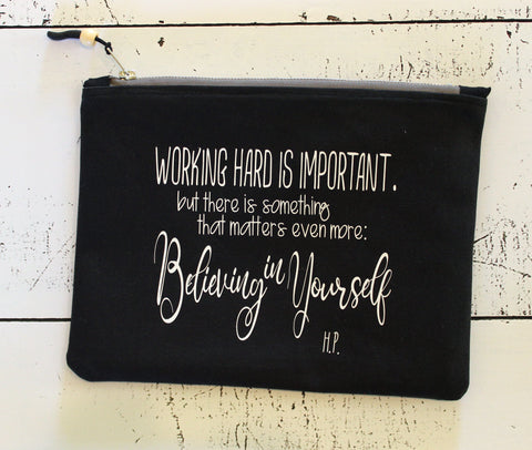 believing in yourself - zip money makeup bag