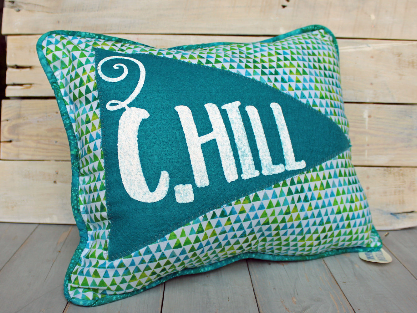 vintage style pennant pillow - blue C.Hill