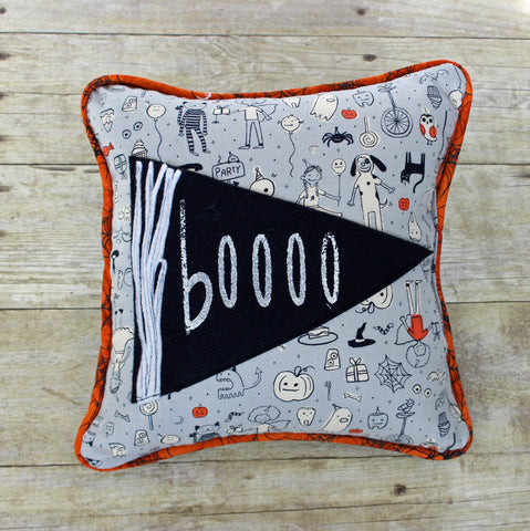boooo two pennant Halloween pillow - Pretty Clever Words