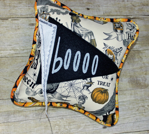 booooo pennant Halloween pillow