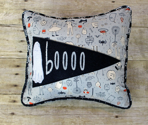 boooo pennant Halloween pillow