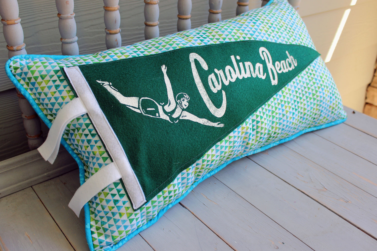 vintage pennant pillow Carolina Beach