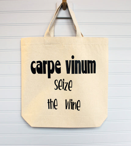 carpe vinum seize the wine - canvas tote or zip bag