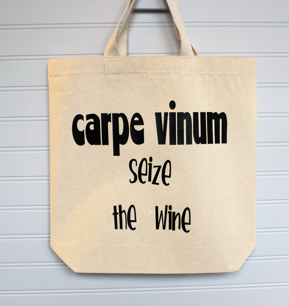 carpe vinum seize the wine - canvas tote