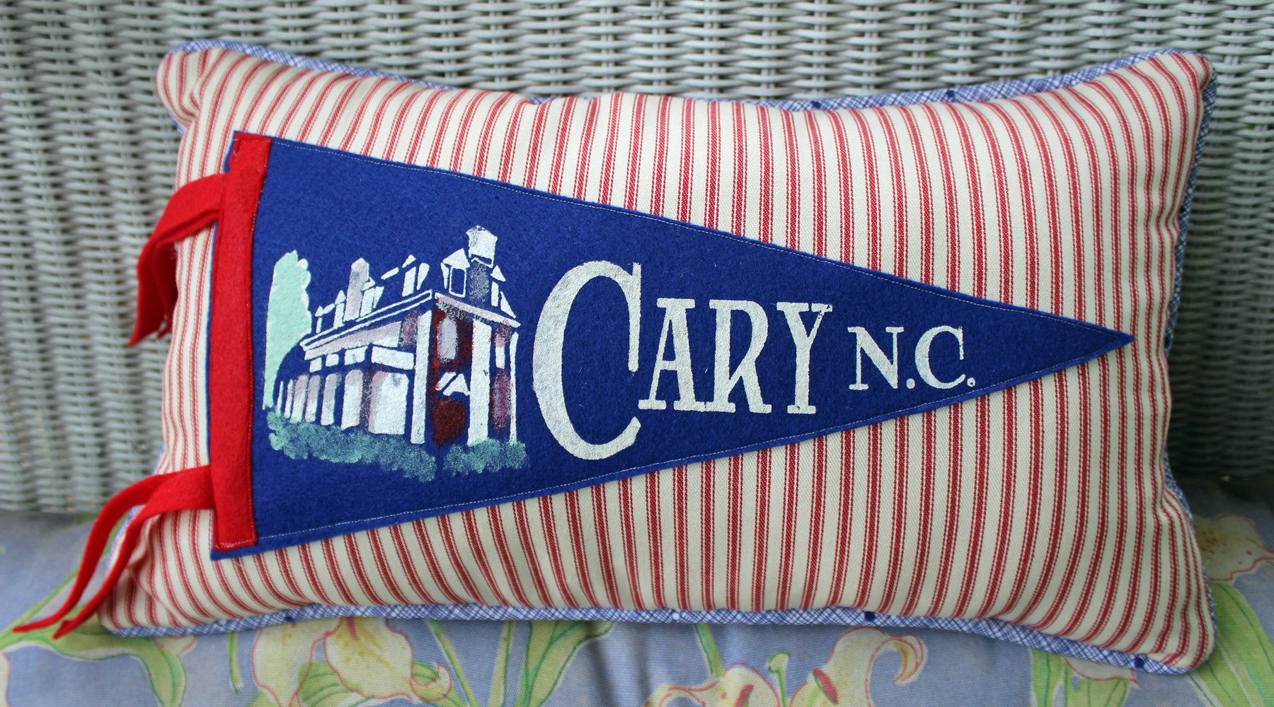 vintage pennant pillow Cary NC