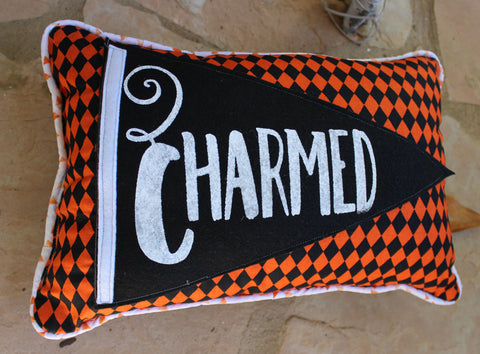 vintage-style pennant pillow - we're Charmed!