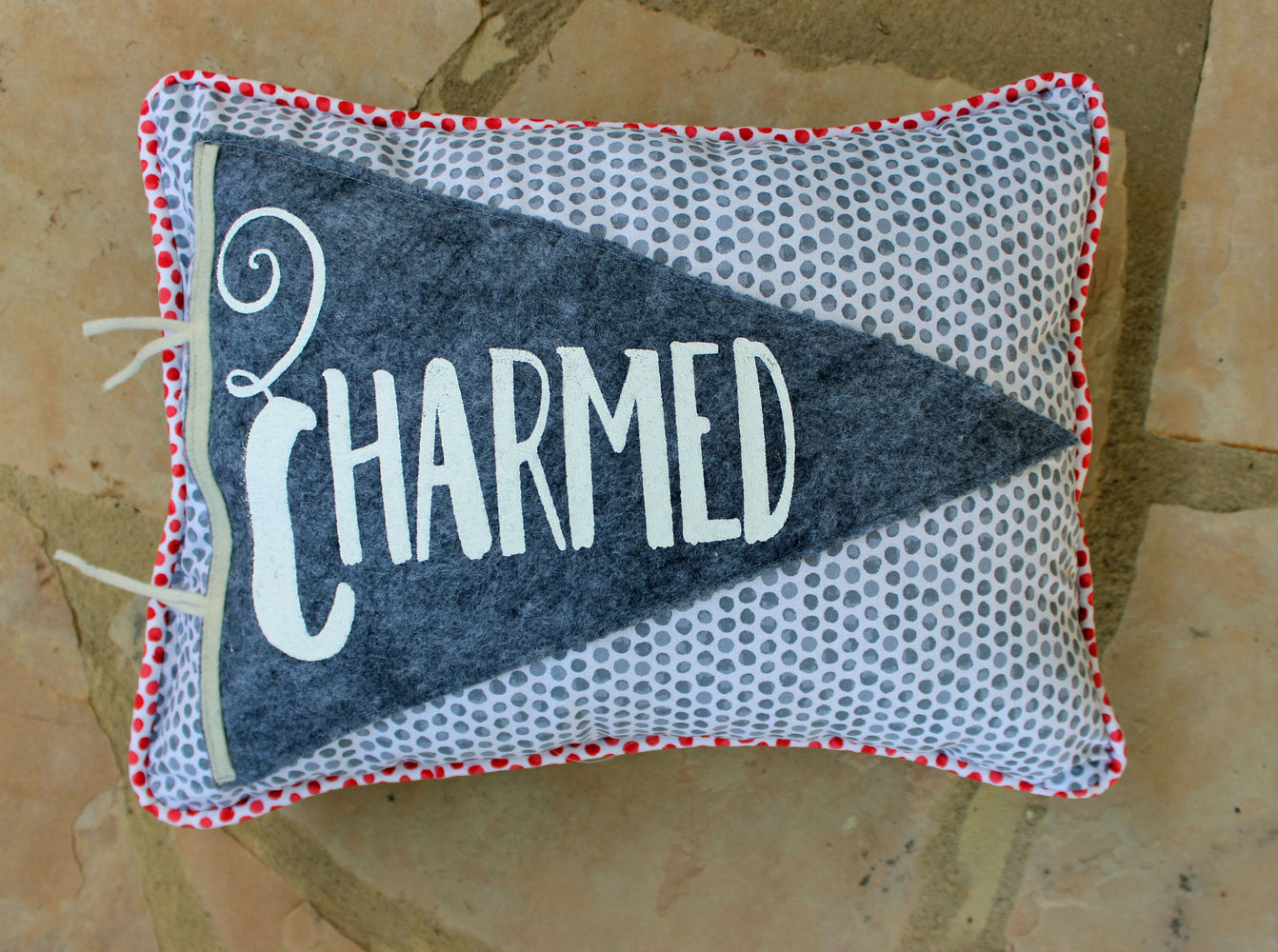 vintage style pennant pillow - Charmed and Charming