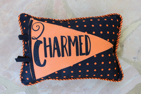 vintage-style pennant pillow - we're Charmed! - Pretty Clever Words