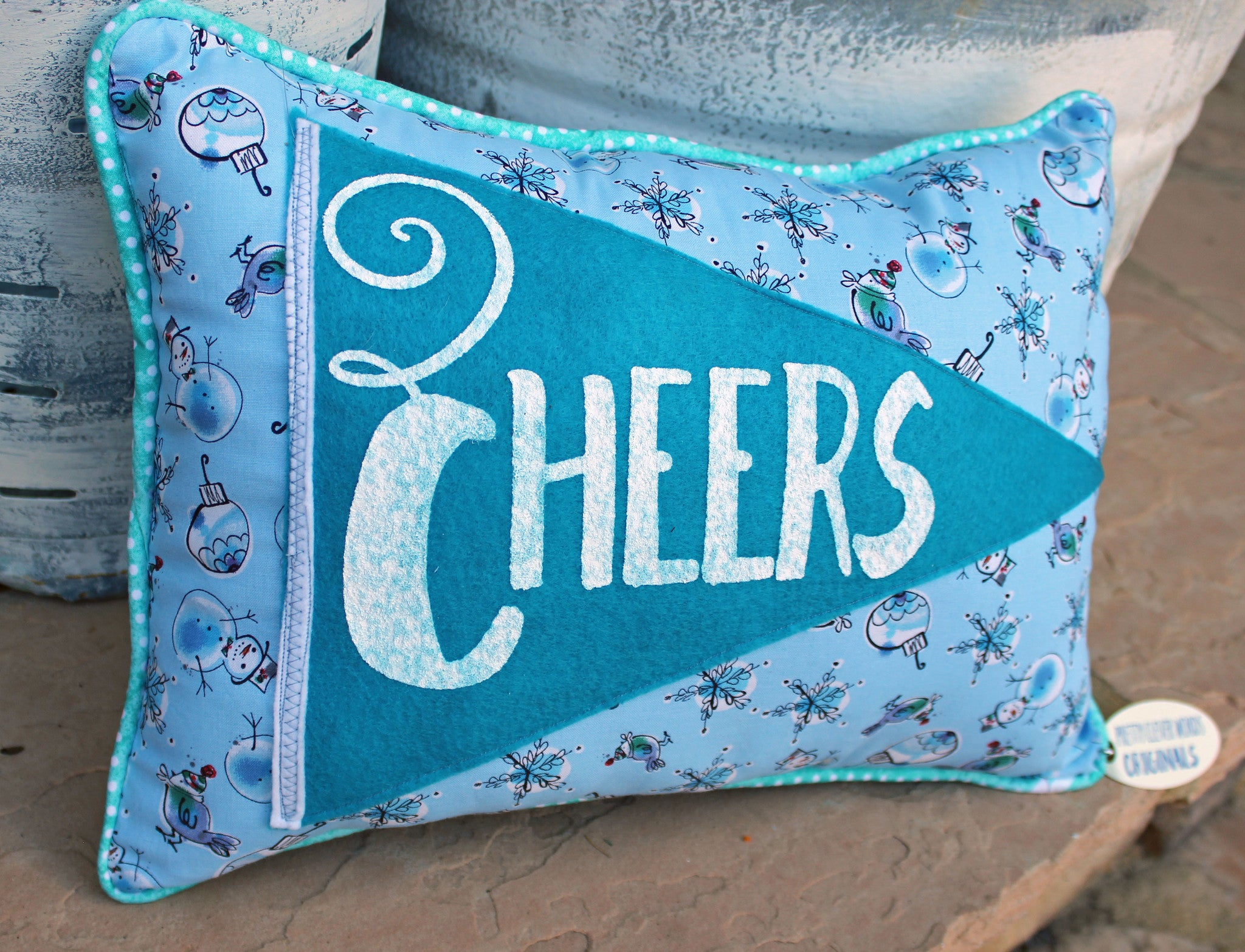 vintage style pennant pillow - Cheers