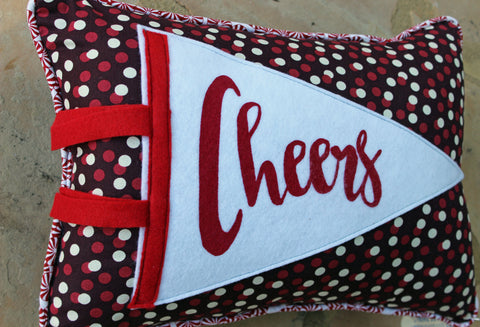 vintage style pennant pillow - Cheers!
