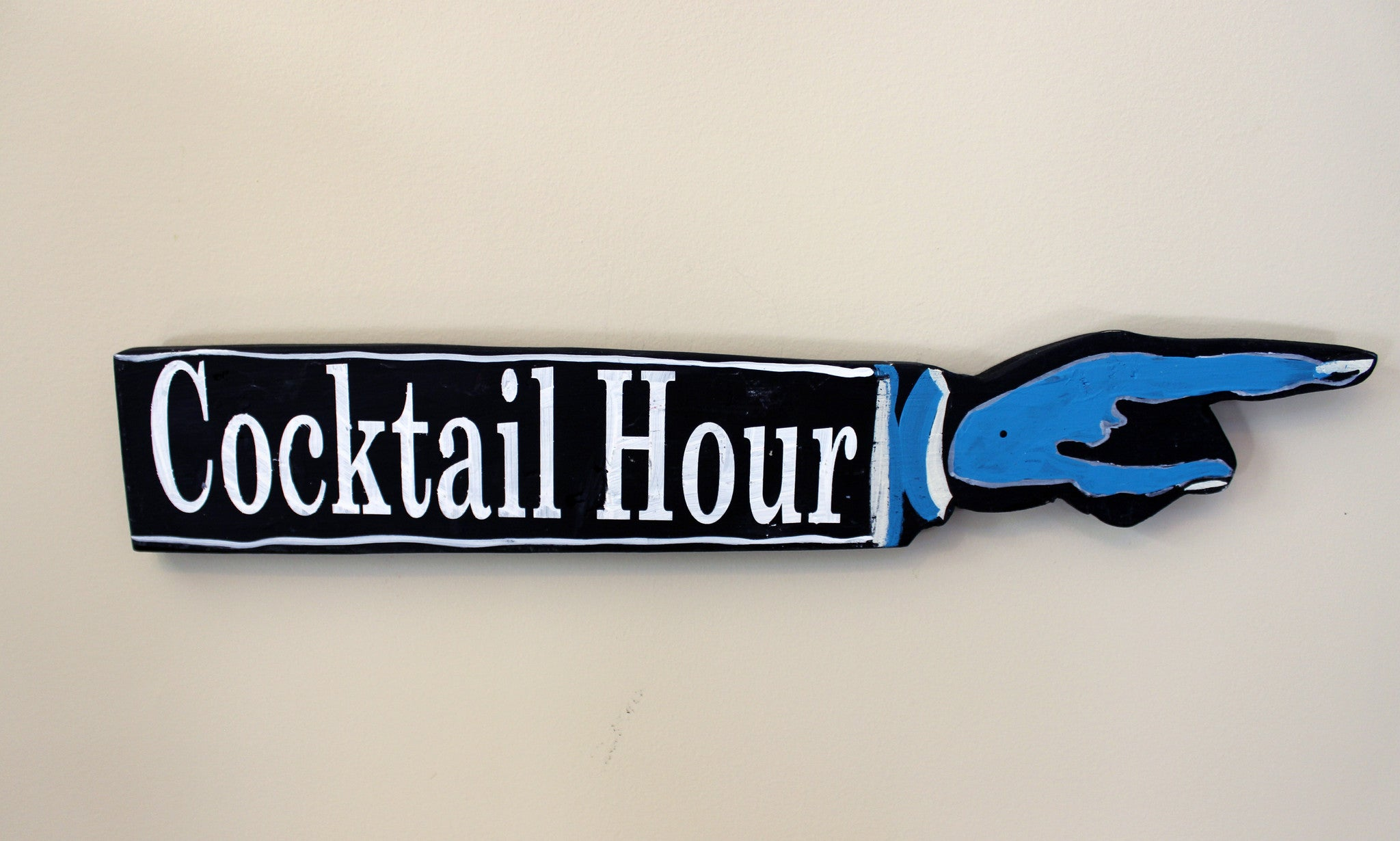 cocktail hour wooden pointy sign