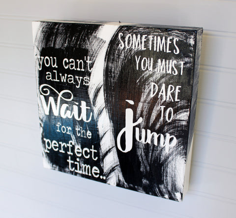 dare to jump - wood panel art