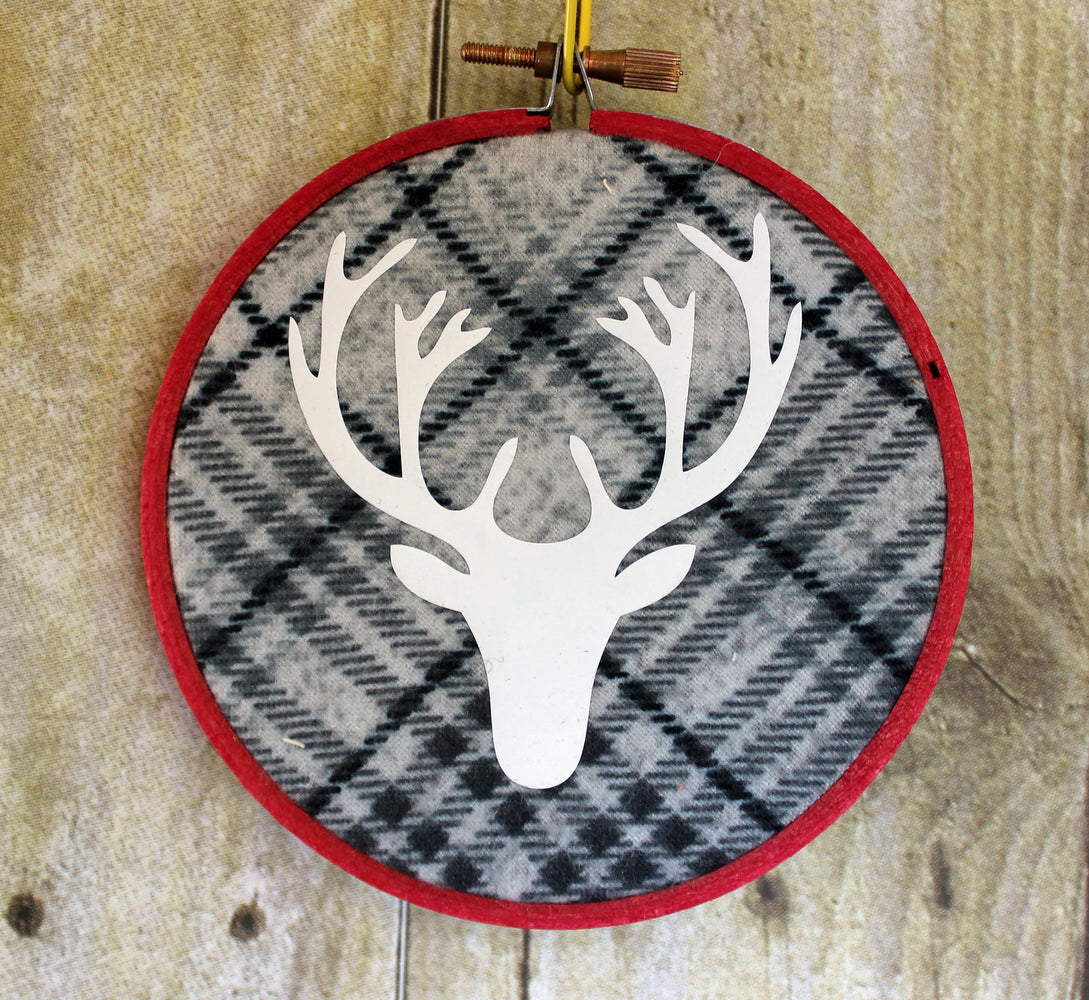 Holiday Ornaments Plaid - hoop art