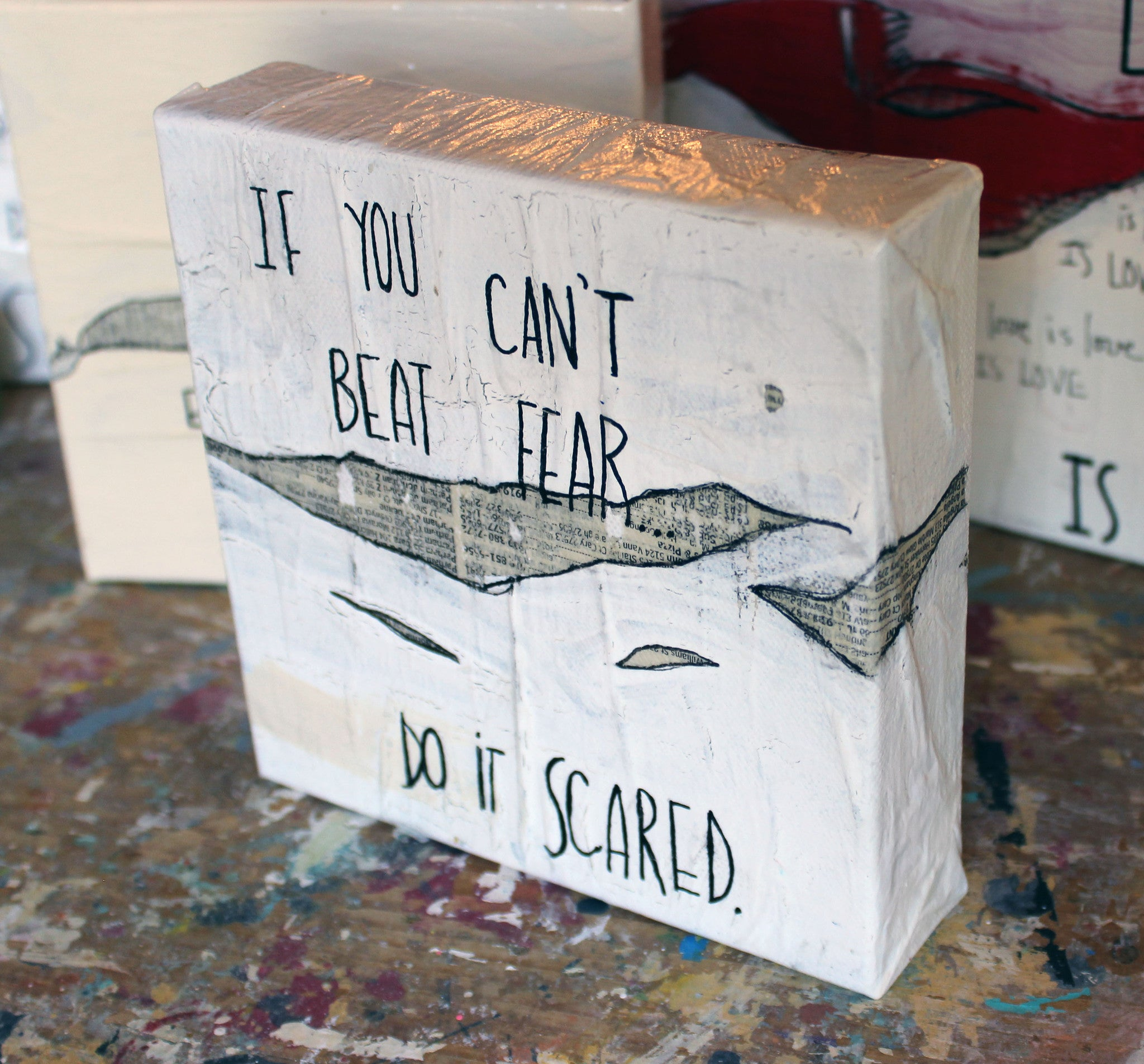 beat fear..do it scared canvas word art