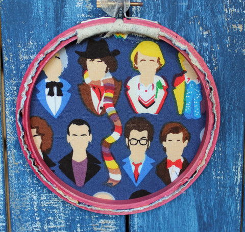 the Doctor's advice on handsome strangers - hoop art - Pretty Clever Words