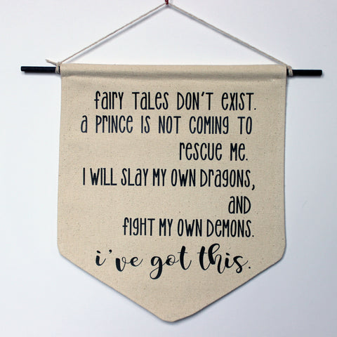 fairy tales don't exist - canvas word art banner