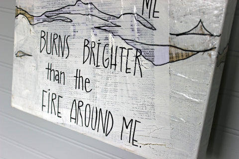 i survive because of the fire within me canvas word art