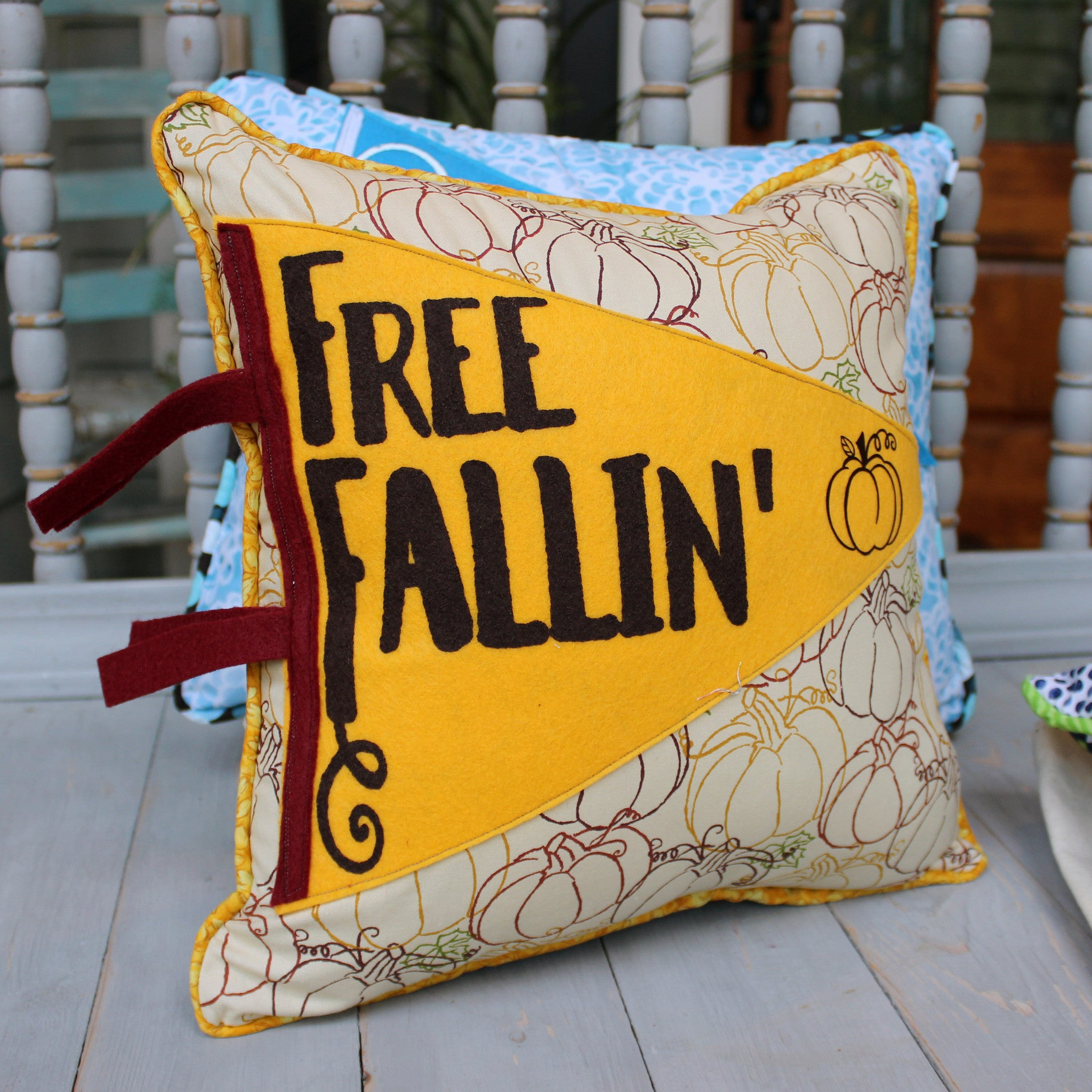 vintage style pennant pillow - Free Fallin...