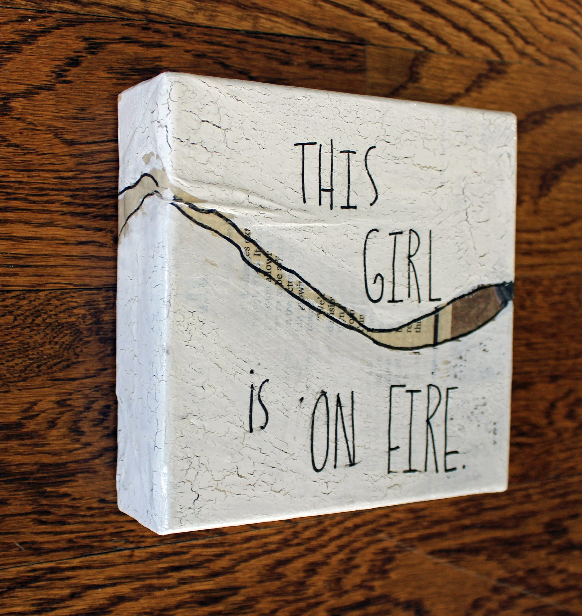 this girl is on fire canvas word art