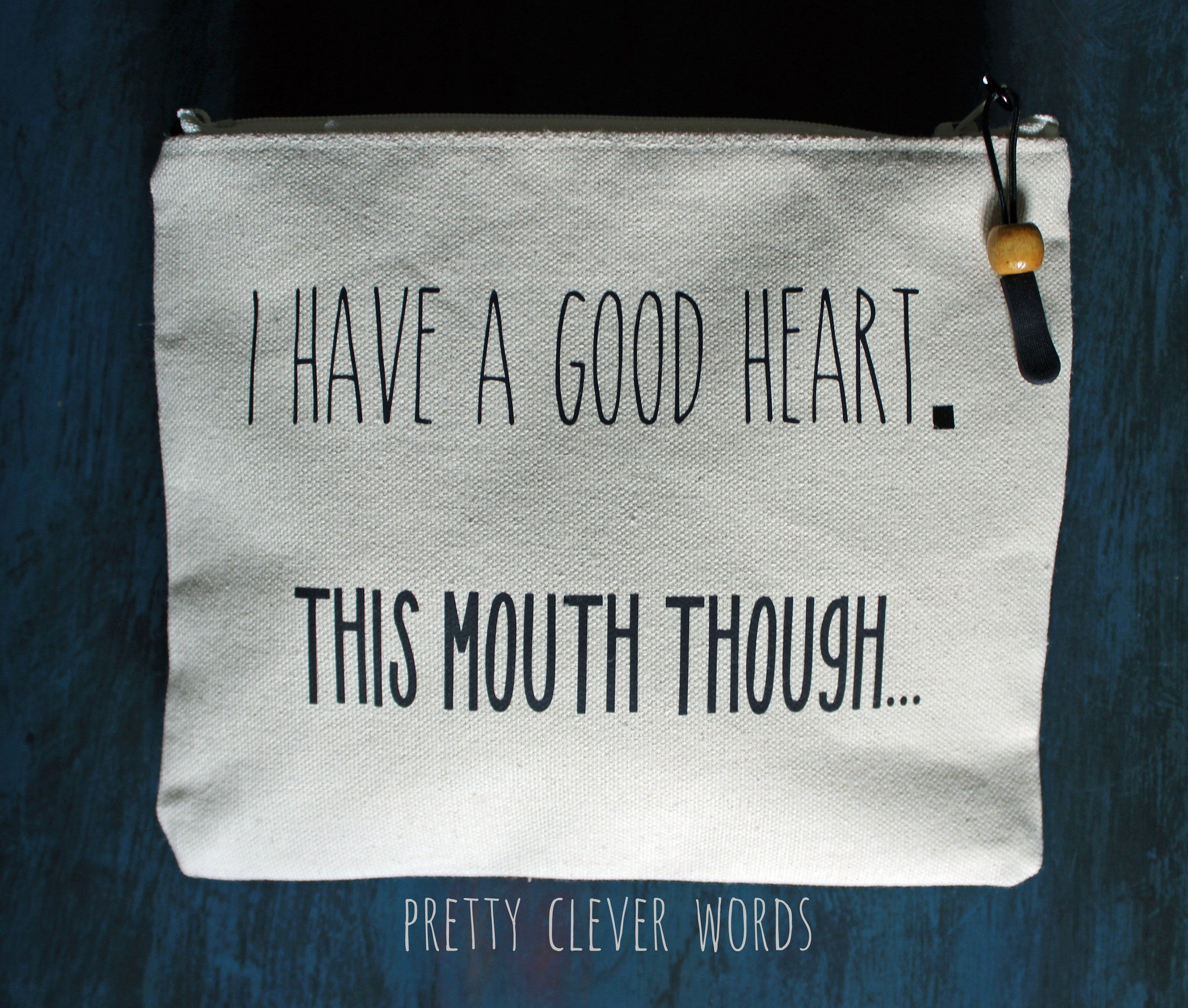 good heart but this mouth.. - zip money bag tote