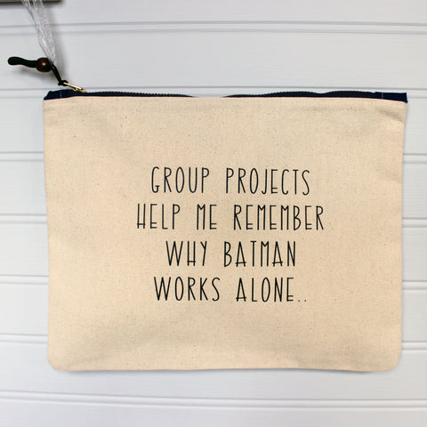 group projects - zip money makeup bag