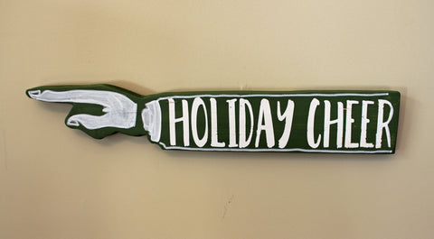 Holiday Spirits wooden pointy signs