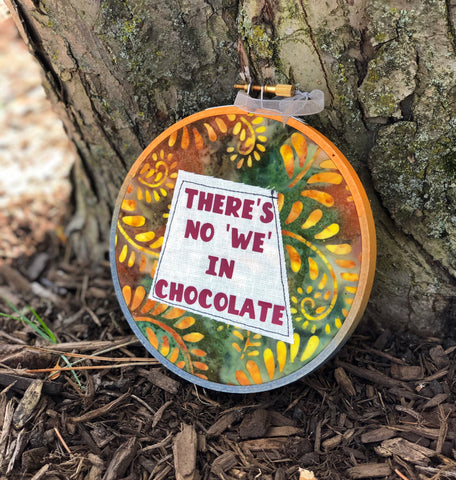no we in chocolate hoop art