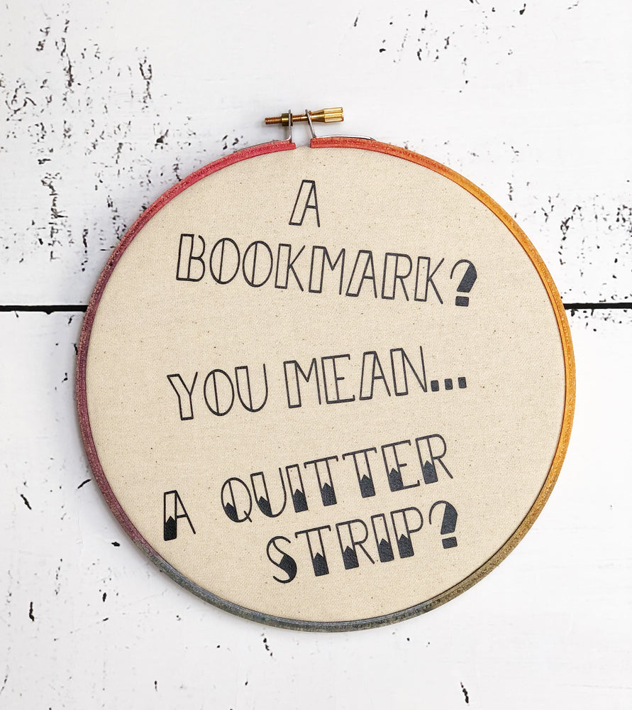 bookmark quitter strip hoop art