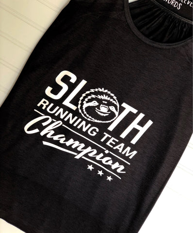 sloth running team - tank and shirt
