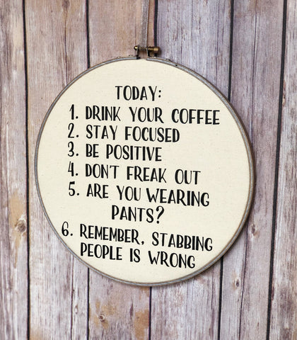 a checklist for today.. hoop art