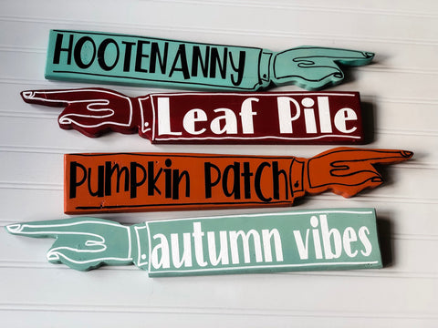 autumn collection - wooden pointy finger signs