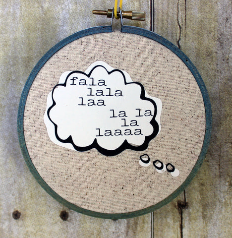 Holiday Word and Thought Bubble ornaments - hoop art