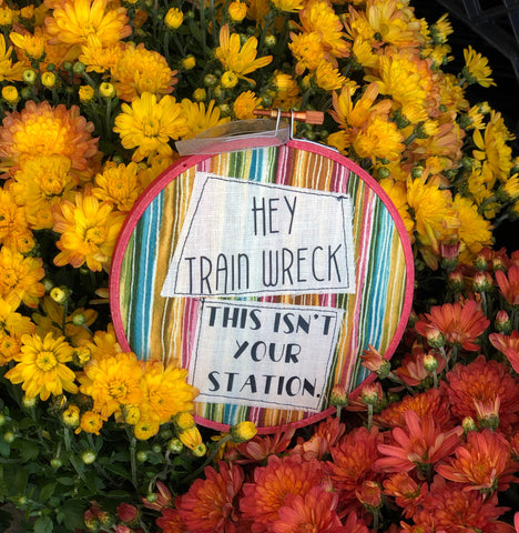 train wreck hoop art