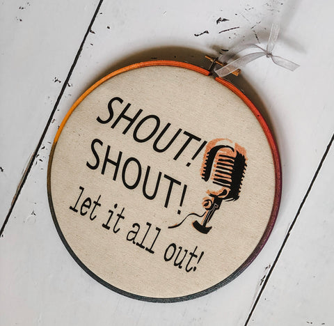 shout, shout, let it all out - hoop art