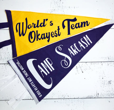 World's Okayest Team- Vintage Style Pennants