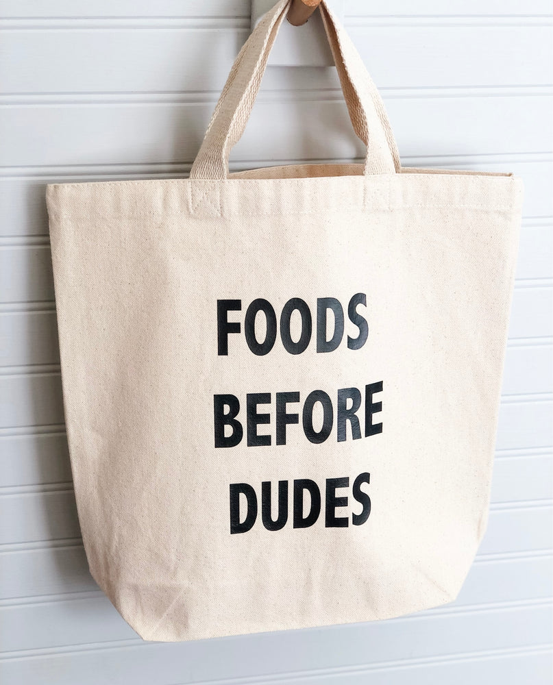 foods before dudes - tote bag