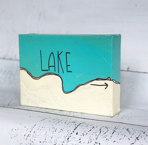lake canvas word art
