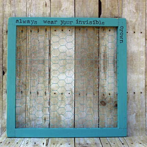 invisible crown chix wire wood frame - Pretty Clever Words