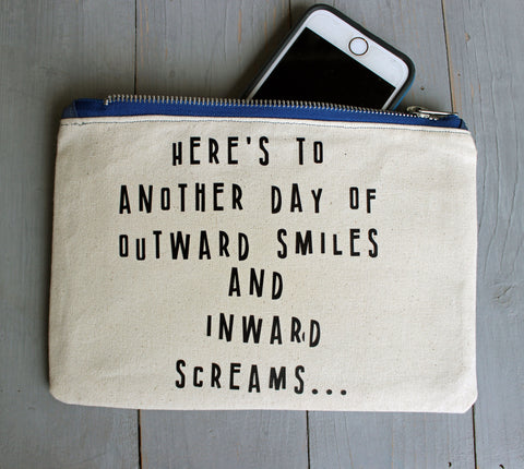 outward smiles and inward screams - zip money bag tote
