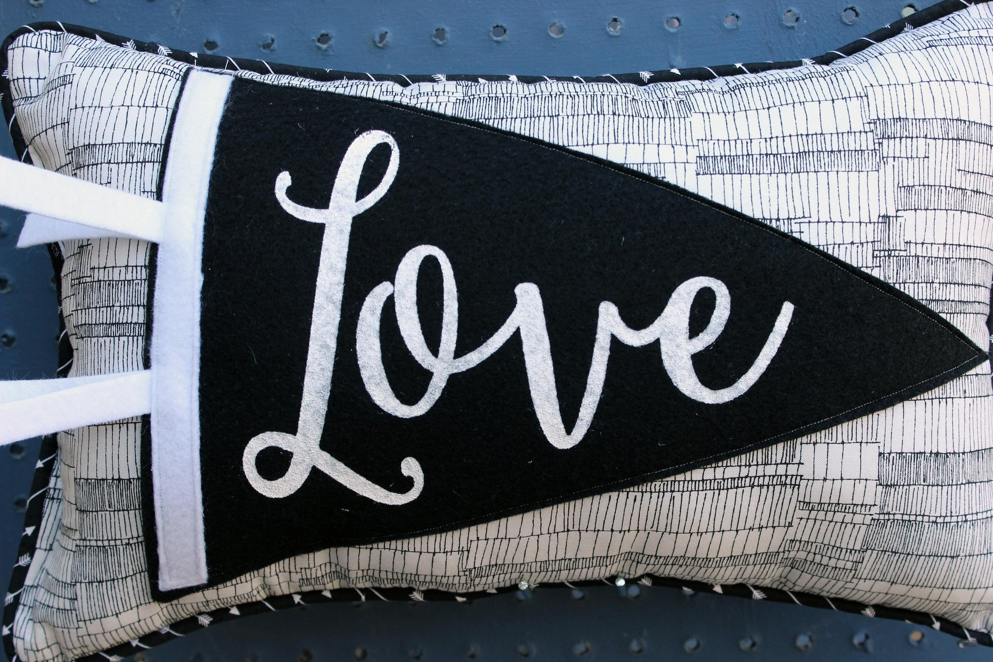 vintage style pennant pillow - Love