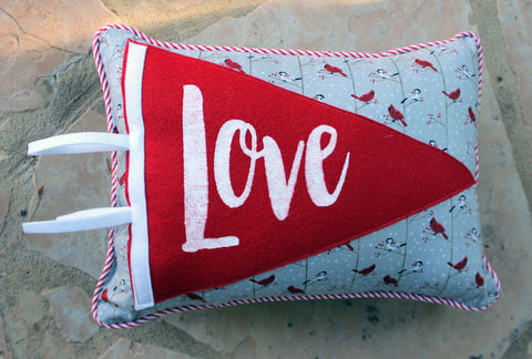 vintage style pennant pillow - Love - Pretty Clever Words