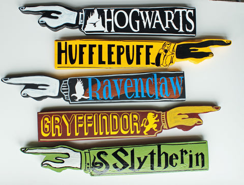 Wizard Houses Collection - wooden pointy finger signs