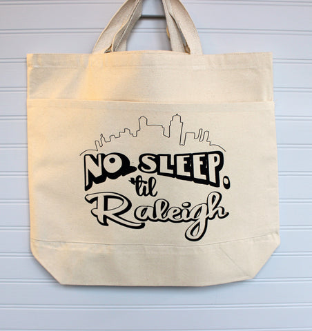no sleep til Raleigh - tote or zip bag