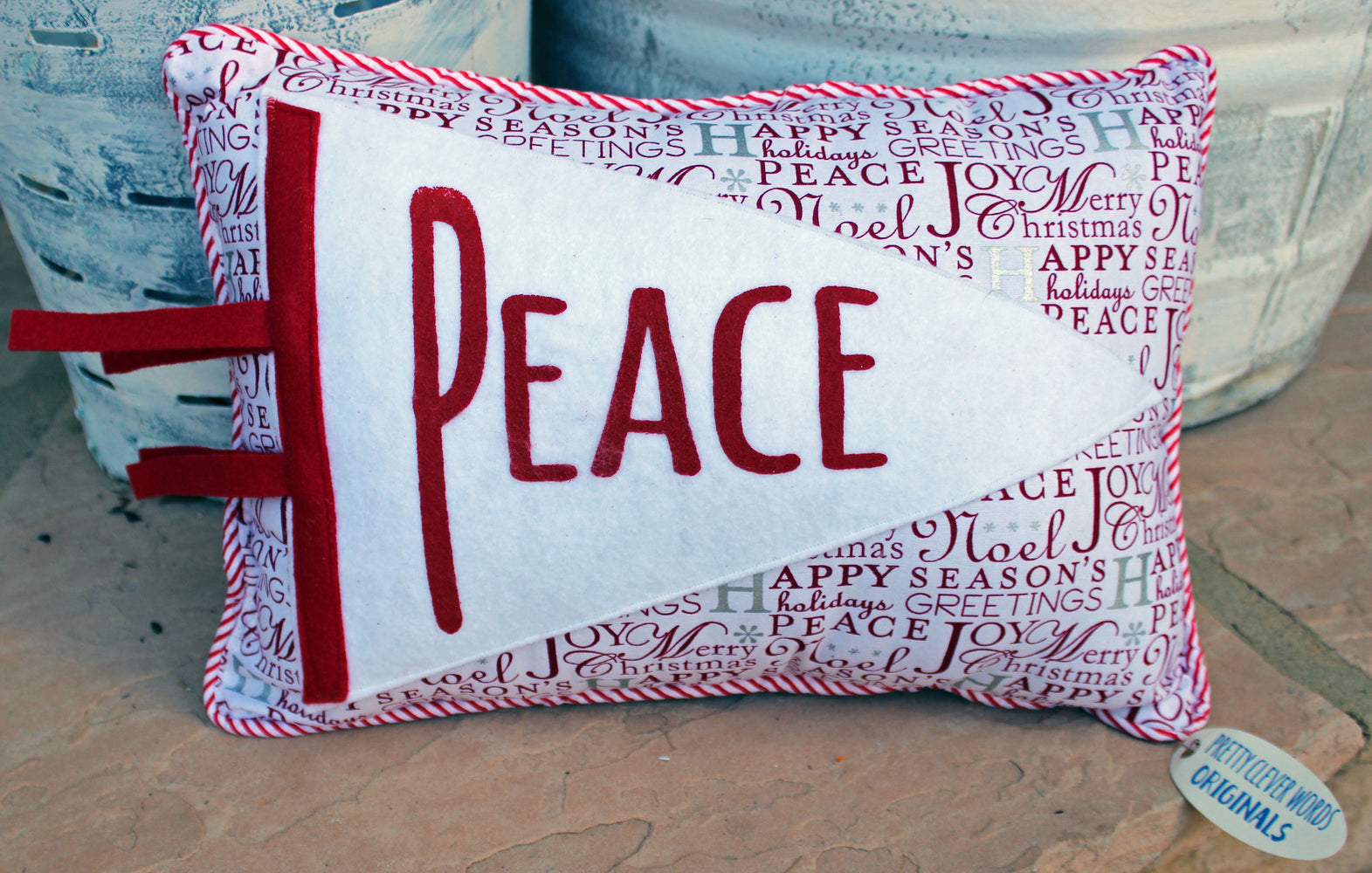 vintage style pennant pillow - Peace