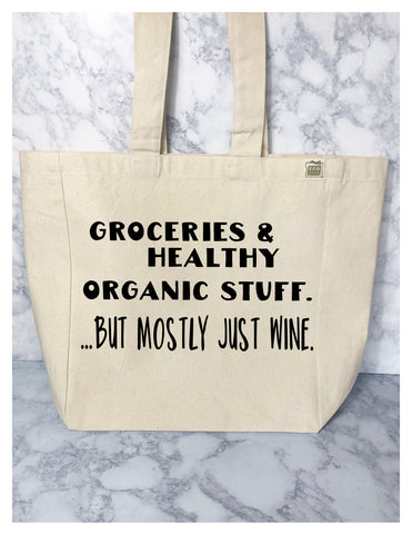 groceries and wine - tote bag