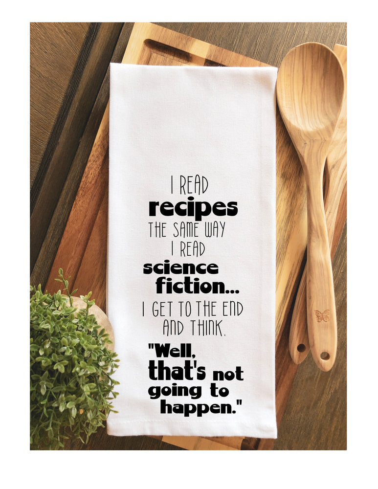 science fiction recipes - humorous tea kitchen towel