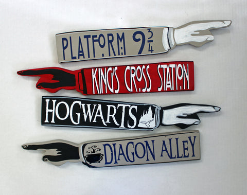 Potter Collection - wooden pointy finger signs